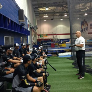 Cal Ripken, Jr. addressing players on Thursday during their walk-through training session